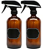 2 Pack Firefly Craft Amber Glass Spray Bottles with Chalkboard Labels, 16 ounces each