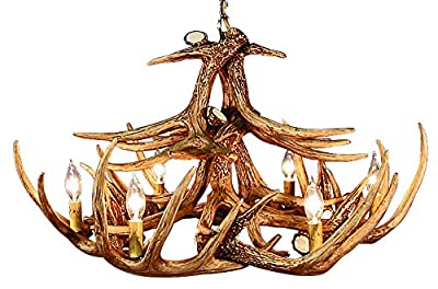 Rustic White Tail 12 Antler Chandelier with 6 Lights