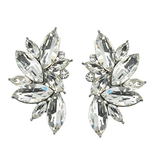 Beautiful Oval Checkerboard Shape (veenajo Luxury Four Color Leaves Shape Flower Design Glass Cluster Crystal Stud Earrings(white))