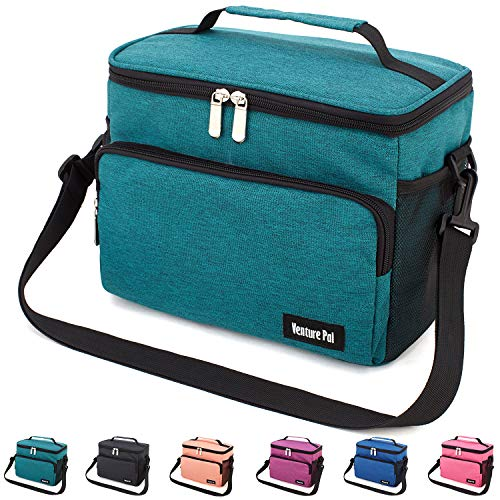 Leakproof Reusable Insulated Cooler Lunch Bag - Office Work Picnic Hiking Beach Lunch Box Organizer with Adjustable Shoulder Strap for Women,Men-Green