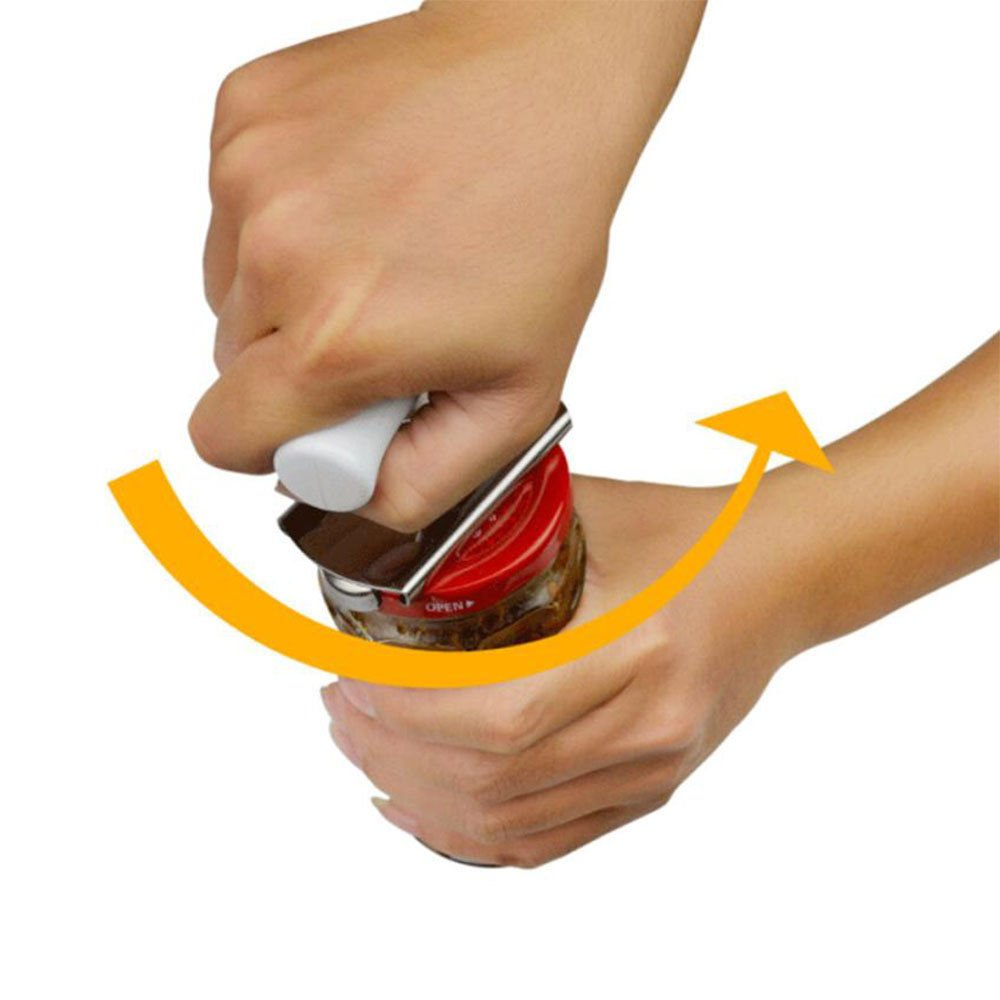 This Can Opener is Heavy Duty and is an Effortless Cutting Tool - Ultra Sharp Cutting Wheel and Large Non-Slip Ergonomic Turning Knob PLUS YOU GET A STAINLESS STEEL JAR OPENER FREE - A 9.99 VALUE