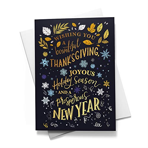 Seasonal Icons - Seasonal Icons - Thanksgiving Cards | 25 Junior Greeting Cards with Your Custom Message and Envelopes | Printed in the USA