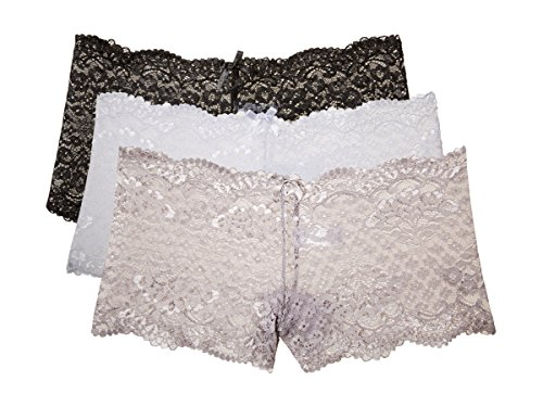 Kathy Ireland Womens 3 Pack Floral Lace Boyshort Panties Black, Off White, White Medium