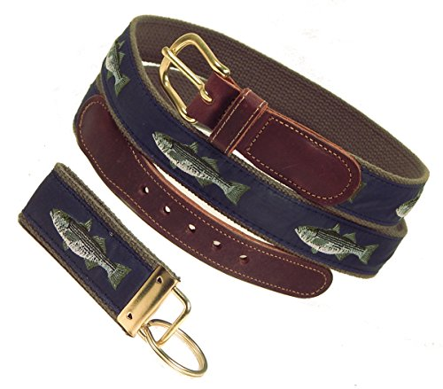 Preston Leather Striped Bass Belt, Navy, Sizes 30 to 50, FREE Matching Key Ring (Size 36) Cotton Striped Belt