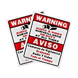 BV-Tech Sign-E-2 Best Vision 12 x 16 Security Surveillance Warning Sign for CCTV Camera (White)