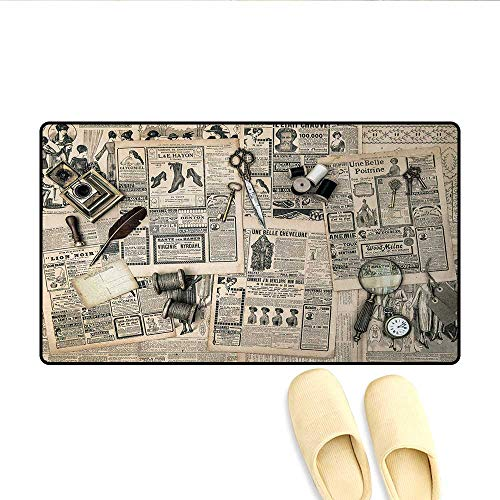 Bath Mat,Antique Accessories Design Old Fashion Magazine Sewing and Writing Tools Print,Door Mat Small Rug,Beige and Black,Size:20