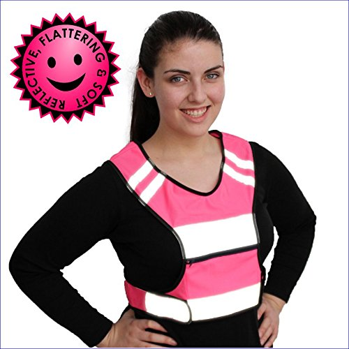 SALE Pink Running Vest for Women. High Visibility Reflective Safety Gear. Large Zipper Pocket Soft Breathable Material & Adjustable Comfort Fit while Cycling Walking and Jogging