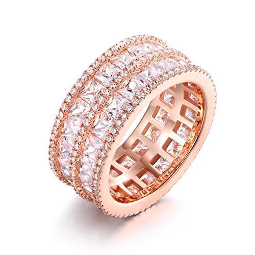 Barzel Rhodium Plated 5-Row Princess-Cut Cubic Zirconia Wide Band Ring (White Gold, 5) (Rose Gold, 8)