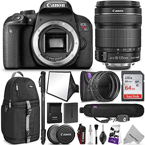 Canon EOS Rebel T7i DSLR Camera with 18-135mm Lens w/Advanced Photo and Travel Bundle - Includes: Altura Photo Backpack, SanDisk 64gb SD Card, Monopod, Filter Kit, Neck Strap and Cleaning Kit
