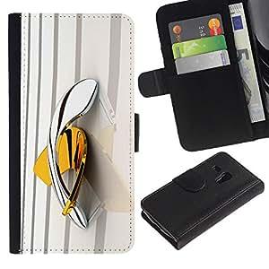 Caso Billetera de Cuero Titular de la tarjeta y la tarjeta de crédito de la bolsa Slot Carcasa Funda de Protección para Samsung Galaxy S3 MINI NOT REGULAR! I8190 I8190N boomerang yello