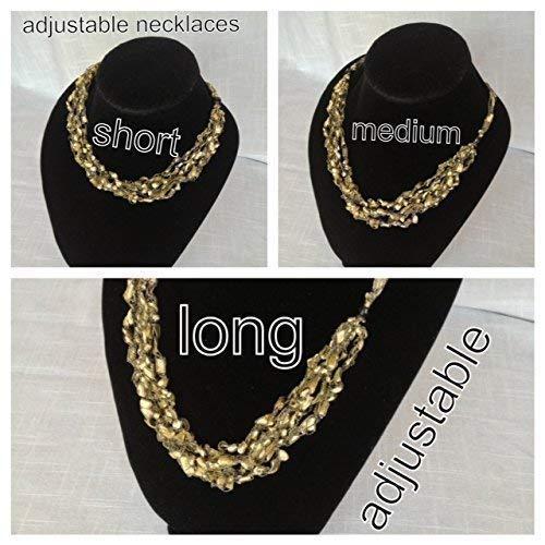 Adjustable Length Scarf Necklace Crochet Yarn Gold Ladder Trellis Ribbon