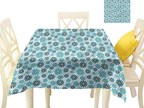 WilliamsDecor Wrinkle Free Tablecloths Animal Print,Daisy Flowers Blooms Fabric Tablecloth W 36