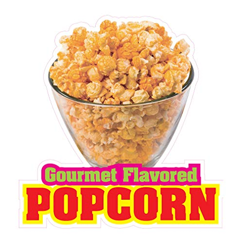 (Die-Cut Sticker Multiple Sizes Caramel Flavored Popcorn Restaurant & Food Popcorn Indoor Decal Concession Sign Red - 10in Longest Side)