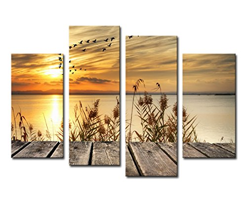 Noah Art-Rustic Seascape Wall Art Canvas Prints, Dawn on The Lake Shore Landscapes Pictures Sunset Artwork Ocean Art Print on Canvas, 4 Piece Stretched Canvas Wall Decor for Living Room ()