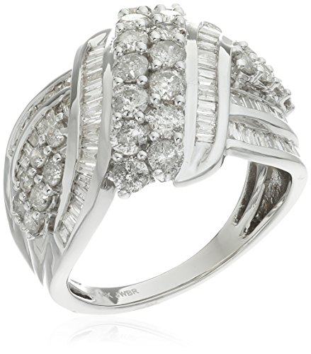 White Gold Diamond Bypass Ring - 14k White Gold Double Row Diamond bypass Ring (2 cttw), Size 7