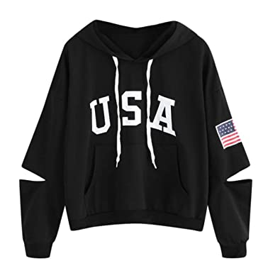 e3a1e648 Women Printed Hoodie Sweatshirt Crop Top Lady Patchwork Long Sleeve Shirt  Jumper Pullover Tops Blouse (