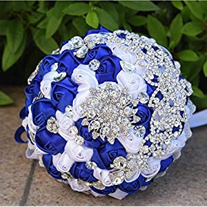 Royal Blue Bridal Bouquets Crystals Brooch Wedding Bouquet Bride Artificial Handmade Beautiful Bridesmaid Holding Flowers 48