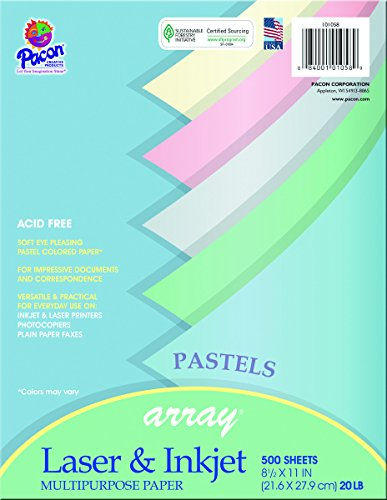 Pacon Assorted Pastel Multi-Purpose Paper, 8.5-in. x 11-in., 500 Sheets (101058)