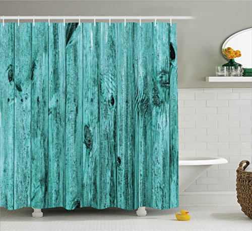 Turquoise Decor Shower Curtain Set by Ambesonne, Wall of Turquoise Wooden Texture Background Antique Timber Furniture Artful Print, Bathroom Accessories, 75 Inches Long, Teal (Place To Wall Find Best Art)
