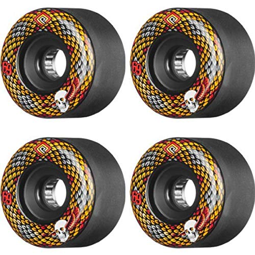 (Powell Peralta Snakes Black / Yellow / Red / White Skateboard Wheels - 69mm 75a (Set of)