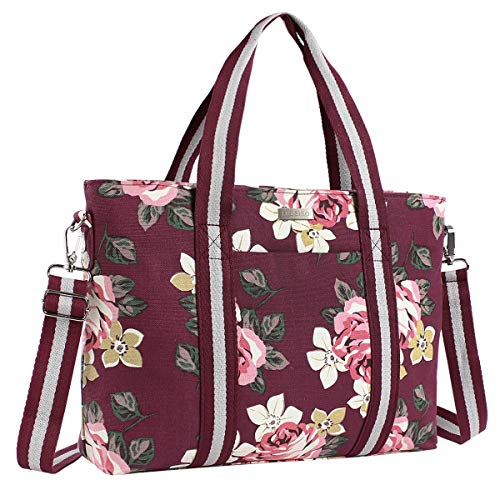Wine Duffle - MOSISO Laptop Tote Bag (Up to 17.3 Inch), Canvas Classic Rose Multifunctional Work Travel Shopping Duffel Carrying Shoulder Handbag Compatible Notebook, MacBook, Ultrabook and Chromebook, Wine Red