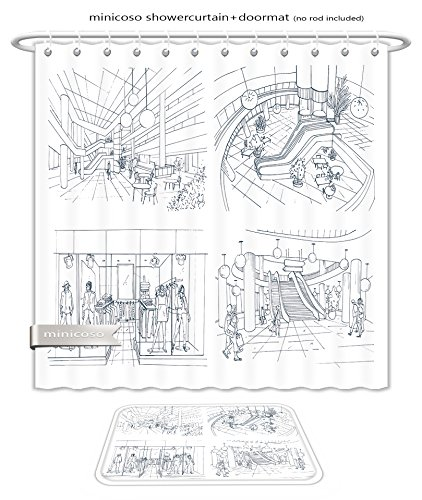 Minicoso Bath Two Piece Suit: Shower Curtains and Bath Rugs Set Of Modern Interior Shopping Center Collection Various Space Mall Contour Sketch Illustration Shower Curtain and Doormat - Shopping Center Macy's