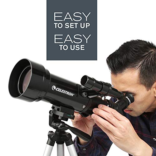 Celestron - 70mm Travel Scope - Portable Refractor Telescope - Fully Coated Glass Optics - Ideal Telescope for Beginners - BONUS Astronomy Software Package