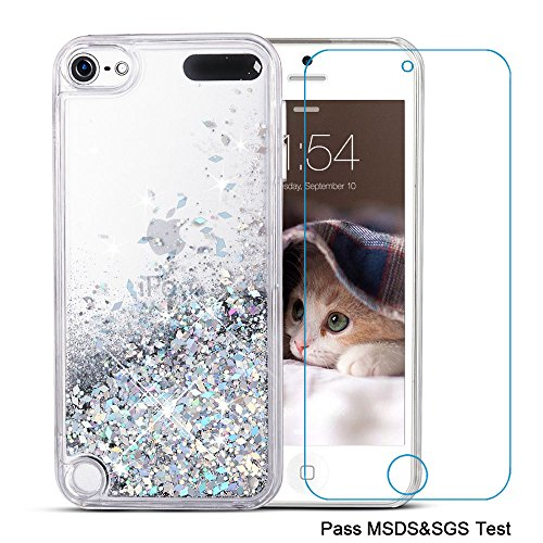 iPod Touch 5 Case,iPod Touch 6 Case, Maxdara[Screen Protector] Glitter Liquid Floating Bling Sparkle Quicksand Case for Girls Children Pretty Design for Apple iPod touch 5 6th Generation (Silver) (Ipod Girls 5 For Touch Cases)