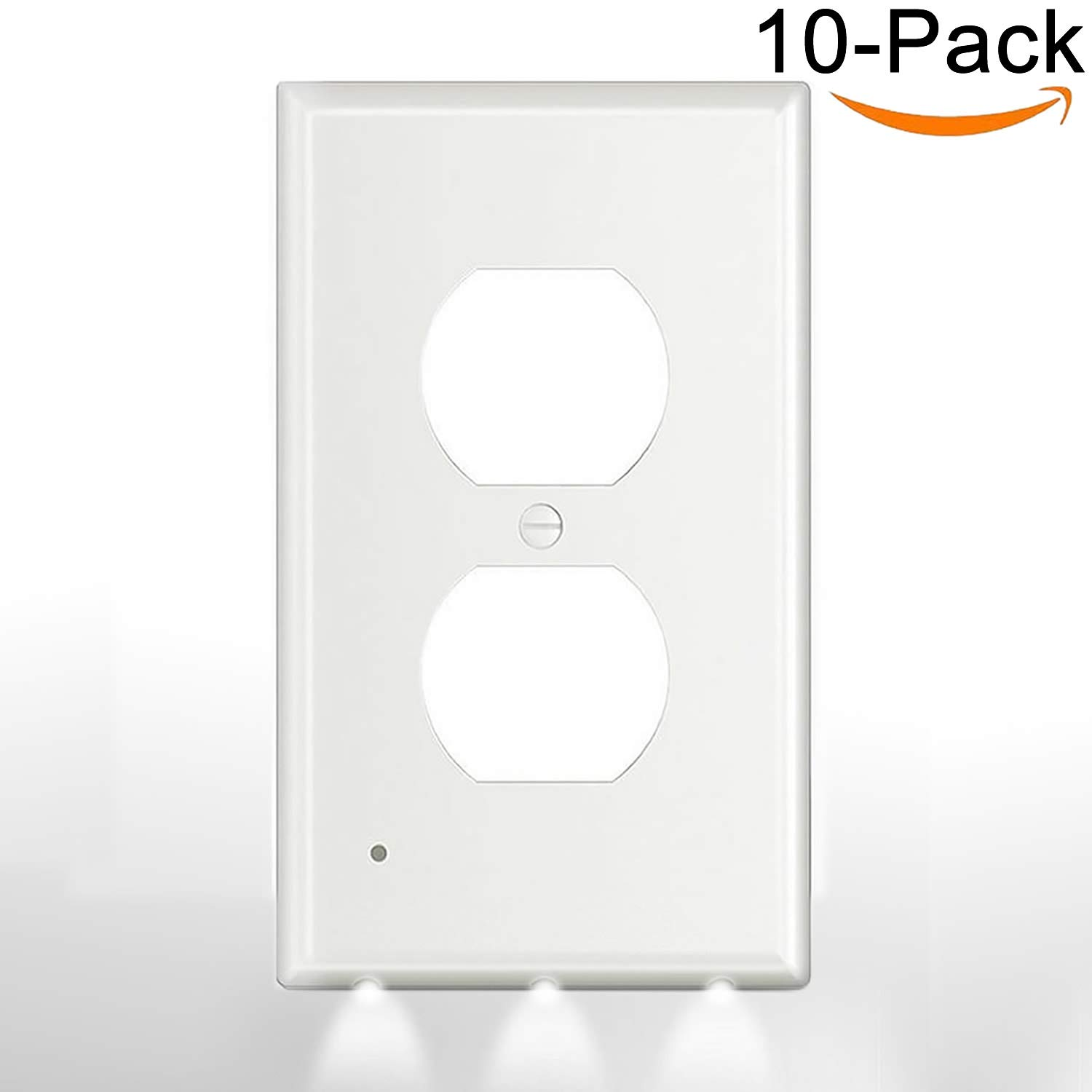 10Pack Duplex Electrical Decorator Receptacle Cover With Night Light Sensor,3-Led NightLight,Outlet Wall Plate,1-Gang,Standard Décor Outlet Covers,Not Work With GFIC,For Kid,Bedroom,Snow-White