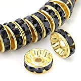 RUBYCA 100pcs High Quality Round Rondelle Spacer Bead Gold Tone 6mm Jet Black Czech Crystal