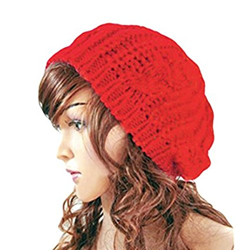 QMY Slouchy Beanie Winter Lady Women Baggy Beret Chunky Knit Knitted Braided Beanie Hat Ski Cap (Red)