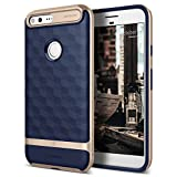Google Pixel Case, Caseology [Parallax Series] Slim Dual Layer Protective Textured Geometric Cover Corner Cushion Design for Google Pixel (2016) - Navy Blue