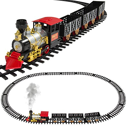 Best Choice Products Kids Classic Electric Railway Train Car Track Toy Set w/ Real Smoke, Music, Lights - Multicolor