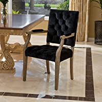 Myrtle Velvet Black Arm Dining Chair