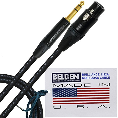 1 Foot - Belden Brilliance 1192A (Made In U.S.A.)-Premium Star Quad, High-Definition Balanced Patch Cable with Neutrik Gold Female XLR Connector and NP3X-B ¼ Inch TRS Stereo Plug