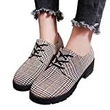 Gyoume Boots Women Lace Up Slip On Boots Shoes Plaid Short Boots Flat Wedge Boots Shoes