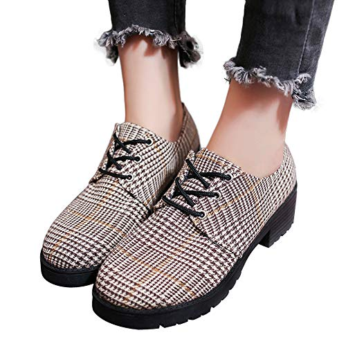 Gyoume Boots Women Lace Up Slip On Boots Shoes Plaid Short Boots Flat Wedge Boots Shoes by Gyoume (Image #1)