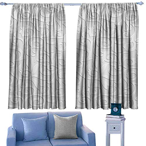 Mannwarehouse Thermal Curtains Silver Abstract Natural Ivy Leaves Flowers Curly Branches Vine Victorian Style Pattern Darkening and Thermal Insulating 63