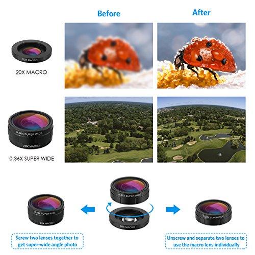 Criacr Phone Camera Lens, 9 in 1 Zoom Lens Kit, 0.36X Super Wide Angle Lens + 0.63X Wide Lens + 15X Macro Lens + 20X Macro Lens + 198°Fisheye Lens + CPL + Starburst Lens Telephoto Lens for Smartphones by AMIR (Image #1)