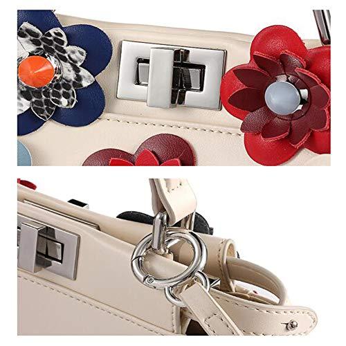 à Bandoulière Fleur à Sac en Mini Messenger Sac en 19cm Dames Cuir Multi Beige 12 Crossbody Sauvage Sac Couleur Black bag Main Couleur Contraste 23 Option 7w5FtxqnE