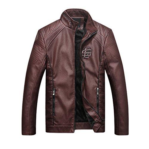 - Oudahood Men Leather Suede Jacket Motorcycle PU Leather Coat Dark Brown XXXL
