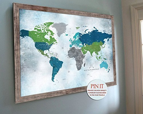 Amazon Com Push Pin World Map 24x36 Inches Personalized Wall Map