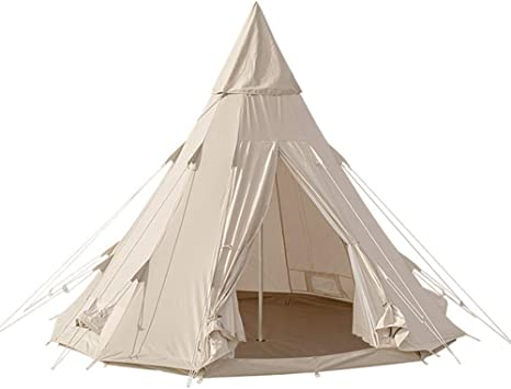 Amazon | TOMOUNT ワンポールテント コットンテント ポリコットン キャンプテントTC素材 四季適用 3-5人 簡単設営 撥水 通気  遮光 焚火 キャンプ用 1本ポール付き サーカス (ベージュ(3*3*2.5m)) | MC | テント本体