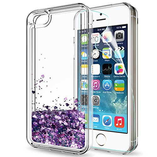 iPhone 5S Case,iPhone 5/iPhone SE/iPhone SE 2 Case with HD Screen Protector for Girls Women,LeYi Cute Shiny Glitter Liquid Clear TPU Protective Case for iPhone 5S/5/SE/SE 2 ZX Purple