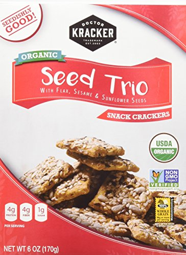 Doctor Kracker Organic Snackers, Seed Trio, 6 Ounce (Pack of ()