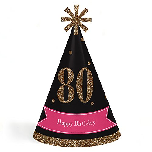 Chic 80th Birthday - Pink, Black and Gold - Cone Happy Birthday Party Hats for Kids and Adults - Set of 8 (Standard -