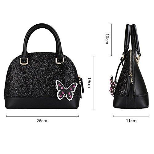 Voyage WKNBEU Black Shopping Sacs Femmes à des Cuir Papillon Sac en Mode Paillettes Main Mignon Bandoulière à Diagonale 8xYXTxnr