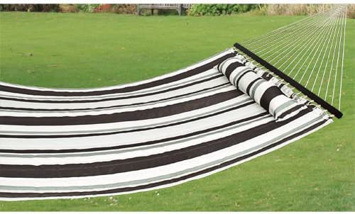 Best Choice Products Double Size Quilted Hammock - 450 lb Weight Capacity - Brown and White Stripe