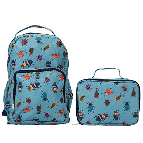 Bugs on Sky Blue Reinforced Water Resistant Backpack and Lunch Bag 2 Piece - Bug Lunch