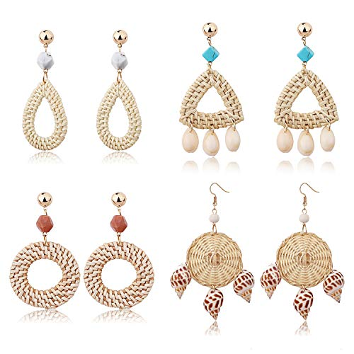 - Finrezio 4 Pairs Rattan Dangle Earrings for Women Ocean Sell Couch Turquoise Lightweight Bohemia Straw Wicker Braid Woven Geometric Statement Earring Set Handmade Jewelry
